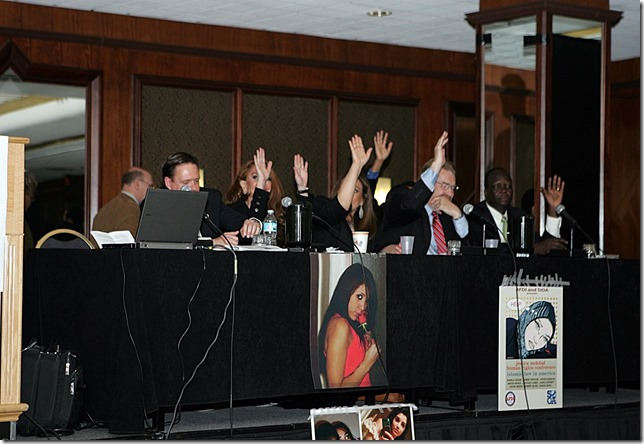 Raise Hands Death Threats- Left to right, Robert Muise, Pamela Geller, Nonie Darwish, Robert Spencer, James Lafferty, Simon Deng, Darwin Jiles - sm