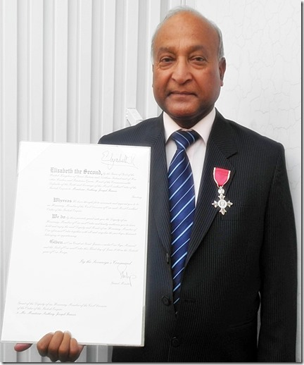 Joseph Francis- MBE Award from Queen Elizabeth II 2014