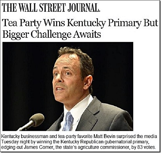 Matt Bevin wins Kentucky GOP Primary