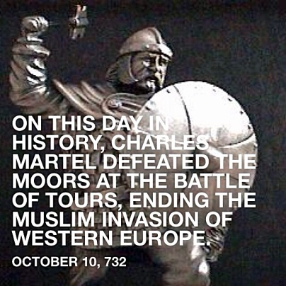 Charles Martel leads battle ending Muslim invasion