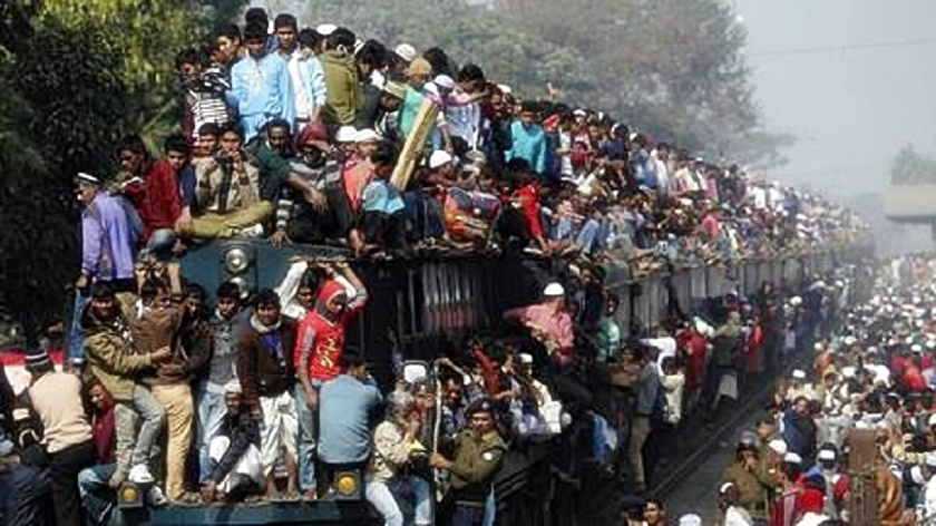 Cramped seating on the train to Dhaka in Bangladesh