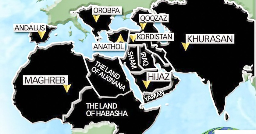 map showing ISIS's plans for Muslim world domination