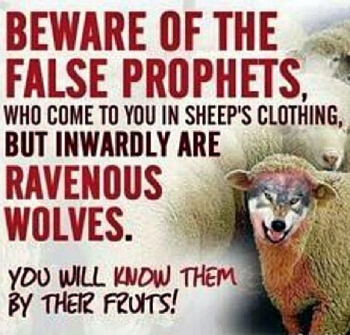 Beware false prophets - wolf in Sheep clothes