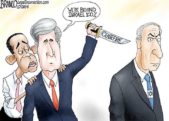 BHO-Kerry prepare to stab Israel in back toon