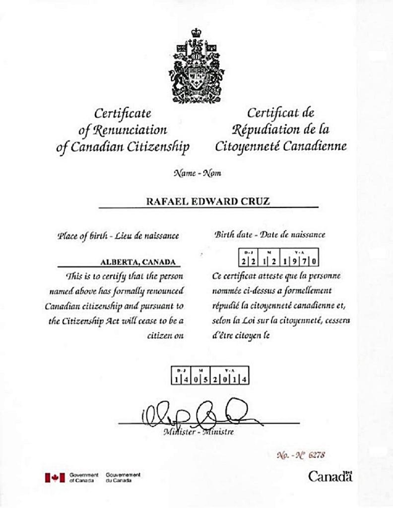 Cruz Canadian Renunciation Certificate