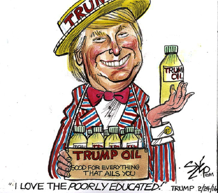 Trump Snake Oil Salesman toon