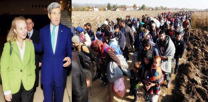 Ambassador Wells and Secretary Kerry welcome refugees
