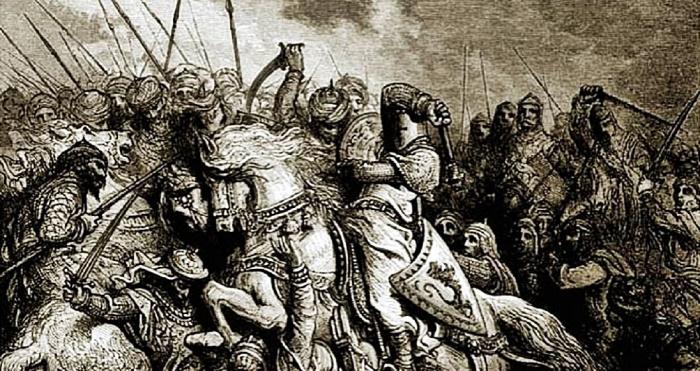Crusader vs Saracen battle depiction