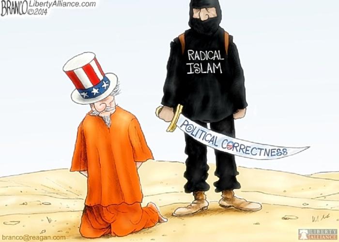 Muslim terrorist decapitates Uncle Sam