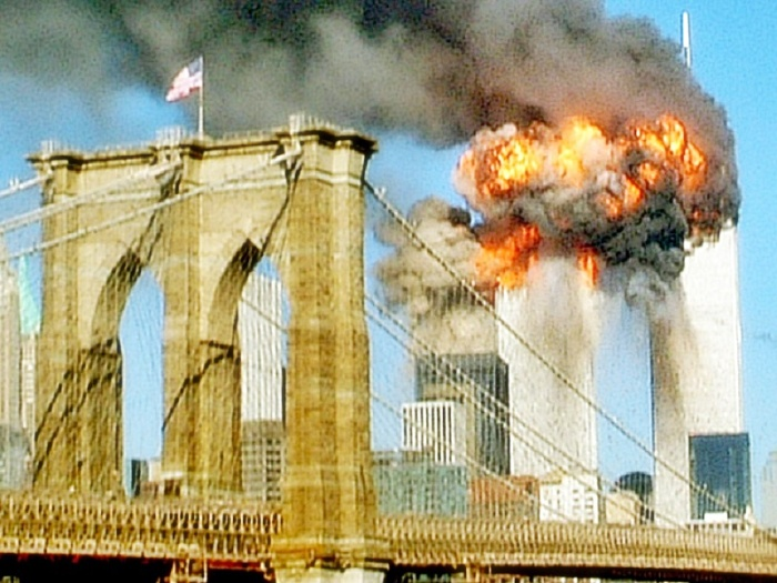 The Twin Towers on fire after 9-11 Attack