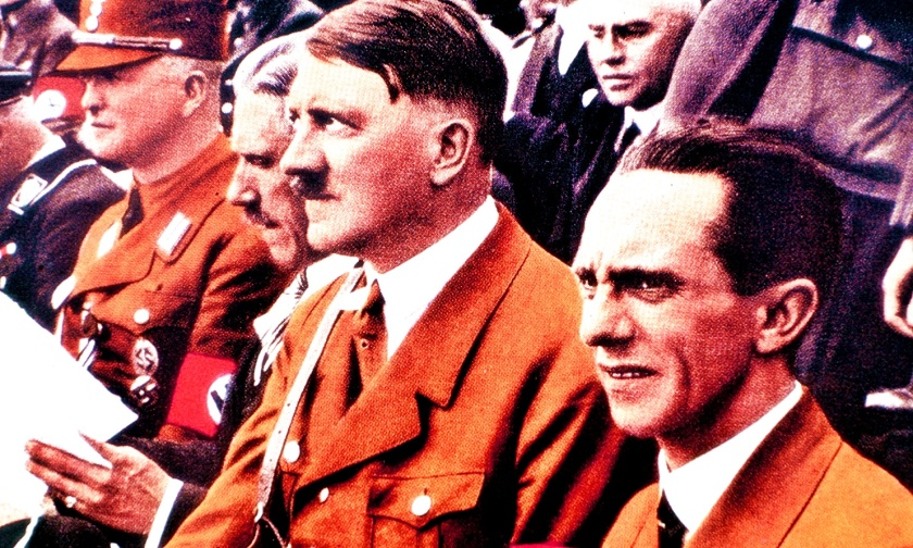 German Nazi leader Adolf Hitler (1889-1945) with General Joseph Goebbels (1897-1945) at a rally  (Photo by Rolls Press/Popperfoto/Getty Images)