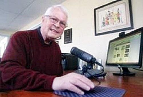 Dan Wooding recording his radio show