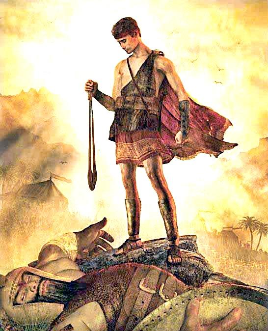 David slays Goliath with sling