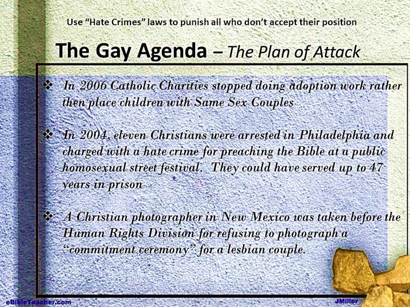 Gay Agenda Attack Plan Results