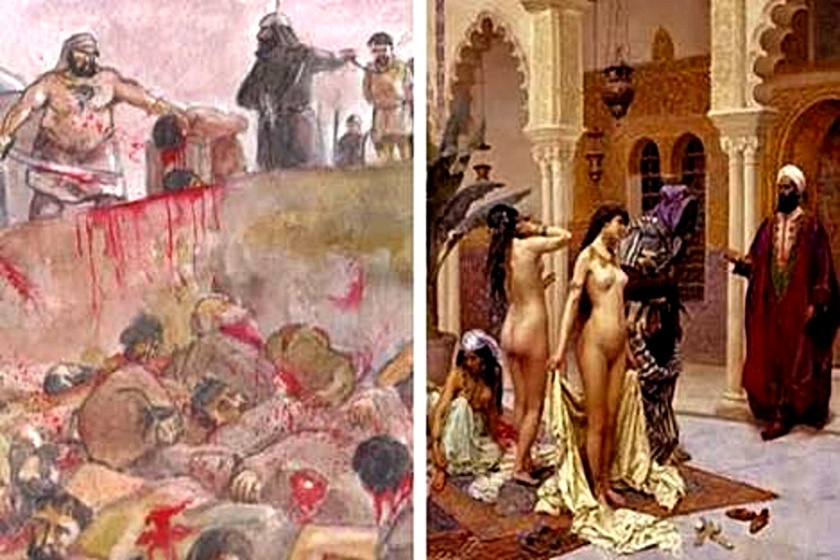 Left- Jewish boys slaughtered - Right- Muslim Slave Market