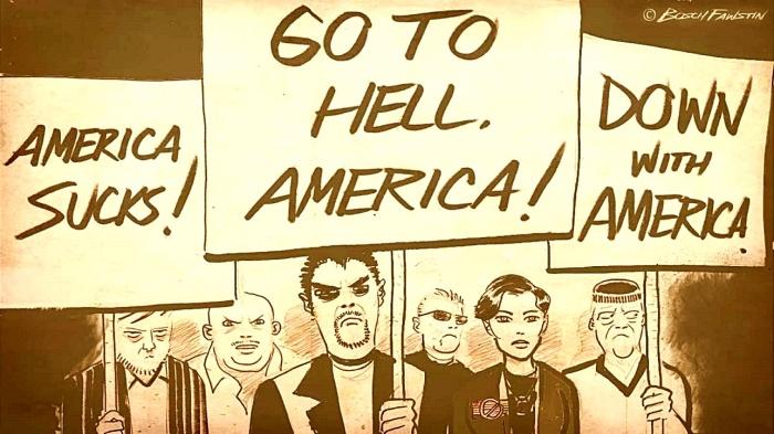 Mutant Anti-American Leftist Protestors