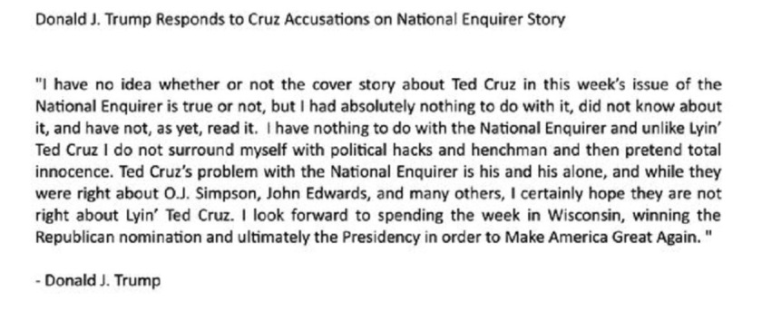 Trump Responds to Cruz Accusations on National Enquirer Story