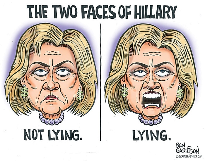2 Hillary Faces- not lying & lying