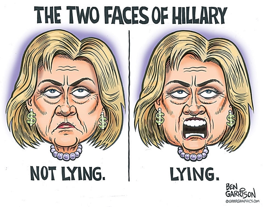 2 Hillary Faces- not lying & lying
