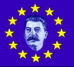 Stalin centered in EU flag