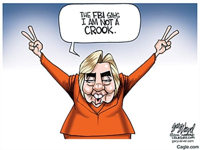 FBI says Hillary not crook toon