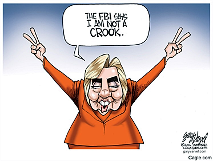 FBI says Hillary not crook toon