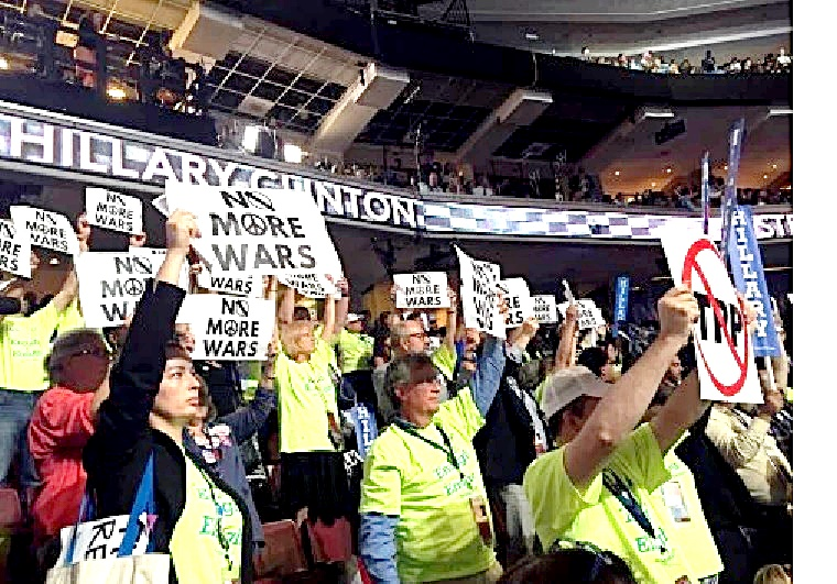 Leftist Dems shout at NO WAR at DNC