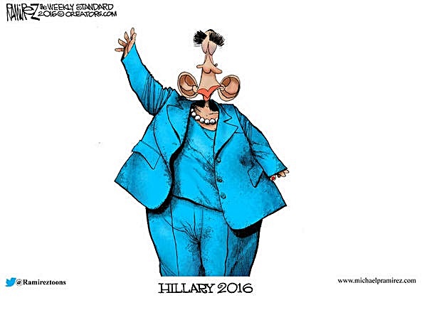 Obama in a blie Hillary outfit toom by Ramirez