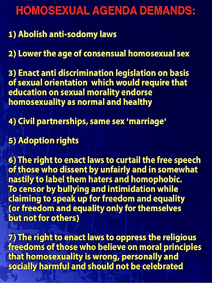 homosexuality the neoconservative christian right gay agenda demands