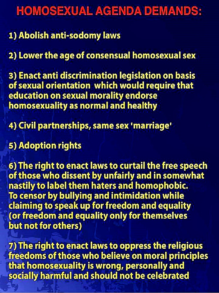 Gay Agenda Demands
