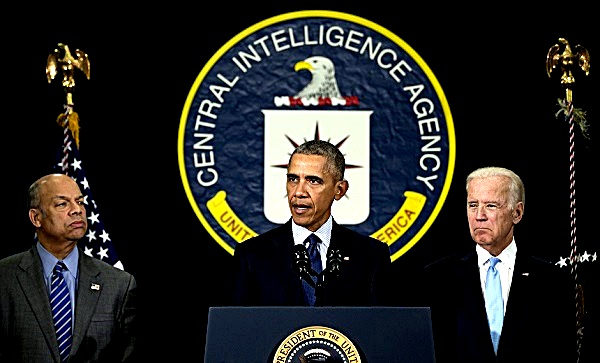 President Barack Obama, joined by Homeland Security Secretary Jeh Johnson, left, and Vice President Joe Biden, right,  speaks at the CIA Headquarters in Langley, Va., Wednesday, April 13, 2016, after a meeting with his National Security Council. Obama pays a rare visit to CIA headquarters as the United States weighs sending more forces to Iraq to fight the Islamic State group. (AP Photo/Carolyn Kaster)