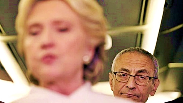 Crooked Hillary (blurred) & John Podesta