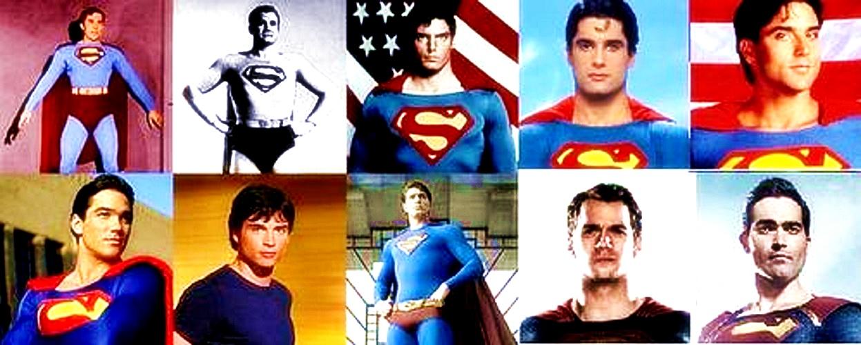 Superman actors- (top) Kirk Alyn, George Reeves, Christopher Reeve, John Haymes Newton, Gerard Christopher. (bottom) Dean Cain, Tom Welling, Brandon Routh, Henry Cavill, and Tyler Hoechlin