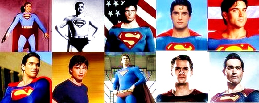 Superman actors- (top) Kirk Alyn, George Reeves, Christopher Reeve, John Haymes Newton, Gerard Christopher. (bottom) Dean Cain, Tom Welling, Brandon Routh, Henry Cavill, and Tyler Hoechlin