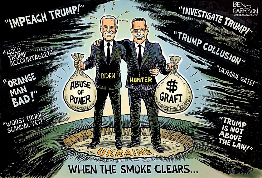 When Ukraine Smoke Clears - Biden Corruption. Ben Garrison toon